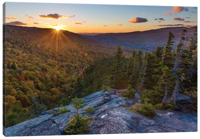 Sunset as seen from Dome Rock in New Hampshire's White Mountain National Forest. Canvas Art Print