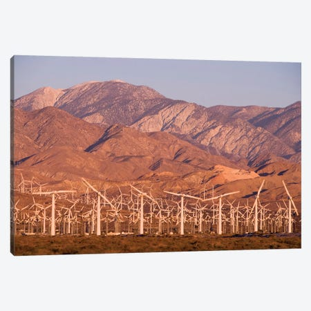 A wind farm in the San Gorgonio Mountain Pass in Palm Springs, California. Canvas Print #JMM11} by Jerry & Marcy Monkman Art Print