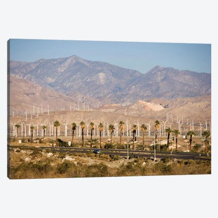 A wind farm in the San Gorgonio Mountain Pass in Palm Springs, California. Canvas Print #JMM12} by Jerry & Marcy Monkman Canvas Art Print