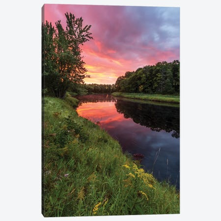 Dawn on the Mattawamkeag River flowing through Wytipitlock, Maine. Canvas Print #JMM4} by Jerry & Marcy Monkman Canvas Wall Art