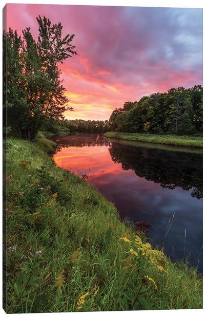 Dawn on the Mattawamkeag River flowing through Wytipitlock, Maine. Canvas Art Print