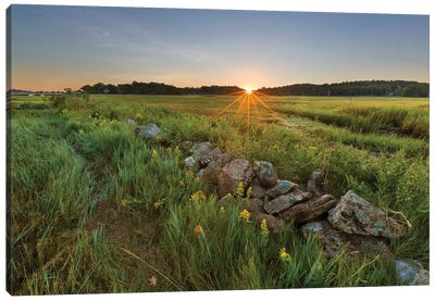 Sunrise over the salt marsh along the Essex River, Essex, Massachusetts. Canvas Art Print