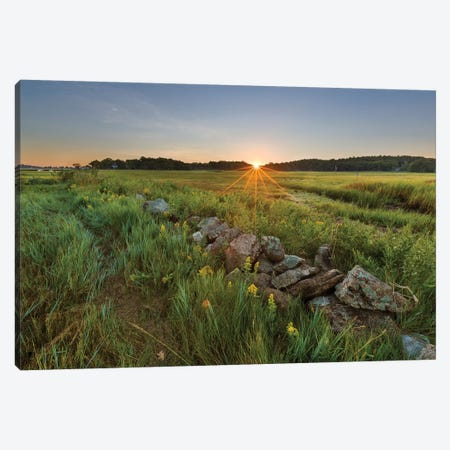 Sunrise over the salt marsh along the Essex River, Essex, Massachusetts. Canvas Print #JMM9} by Jerry & Marcy Monkman Canvas Art Print