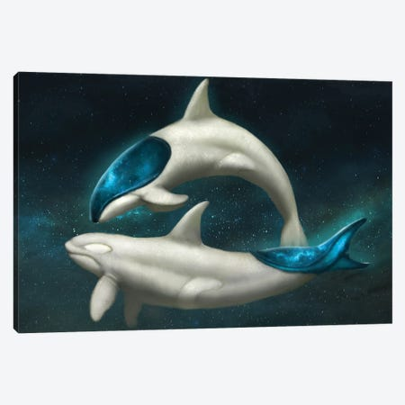 Galaxy Whales Canvas Print #JMN37} by Jade Merien Art Print
