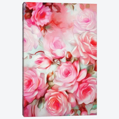 Shabby Chic Pink 3-Piece Canvas #JMO100} by Jacqueline Maldonado Canvas Art Print