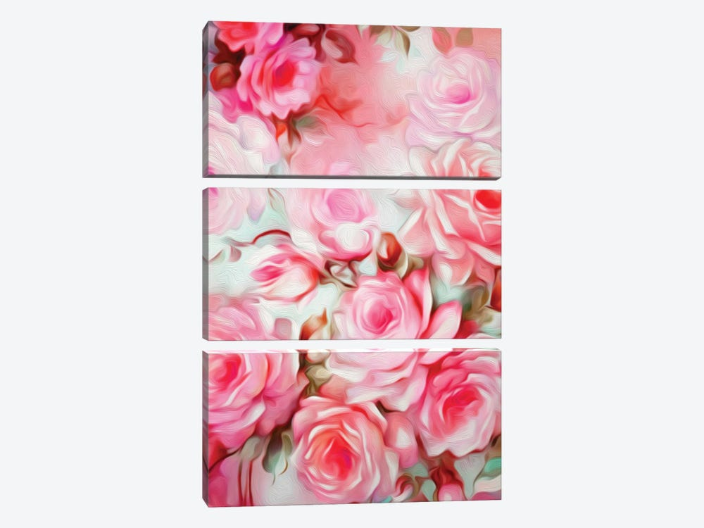 Shabby Chic Pink 3-piece Canvas Art Print