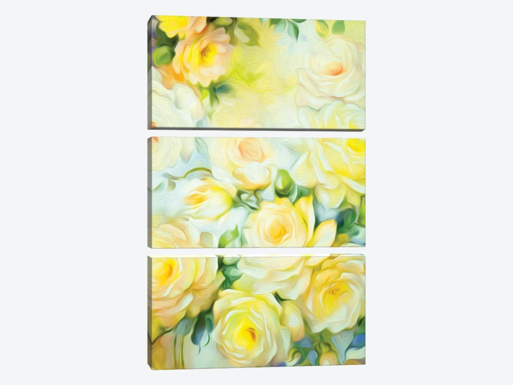 Shabby Chic Yellow 3-piece Canvas Artwork