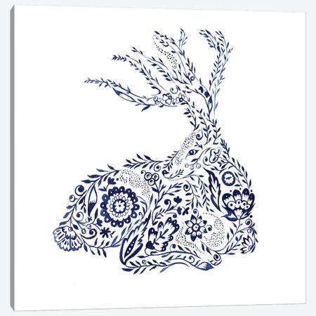 Folk Floral Deer Canvas Print #JMO109} by Jacqueline Maldonado Canvas Art Print
