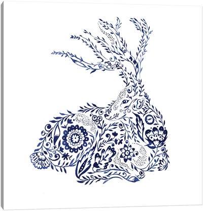 Folk Floral Deer Canvas Art Print
