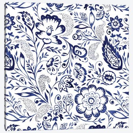 Folk Floral Indigo Canvas Print #JMO110} by Jacqueline Maldonado Canvas Wall Art