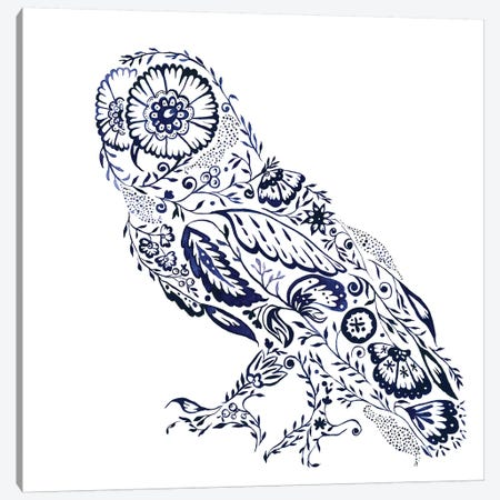 Folk Floral Owl Canvas Print #JMO111} by Jacqueline Maldonado Canvas Artwork