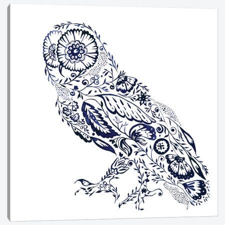 Folk Floral Owl Canvas Print #JMO111} by Jacqueline Maldonado Canvas Artwork