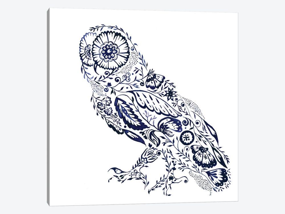 Folk Floral Owl by Jacqueline Maldonado 1-piece Canvas Print