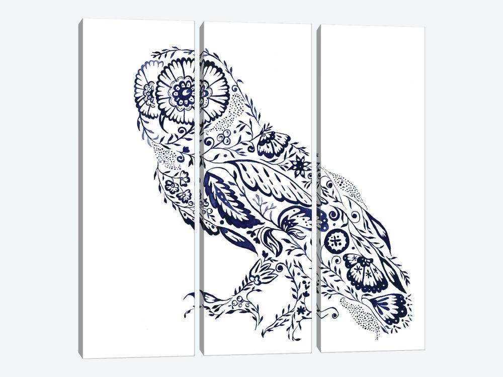 Folk Floral Owl by Jacqueline Maldonado 3-piece Art Print