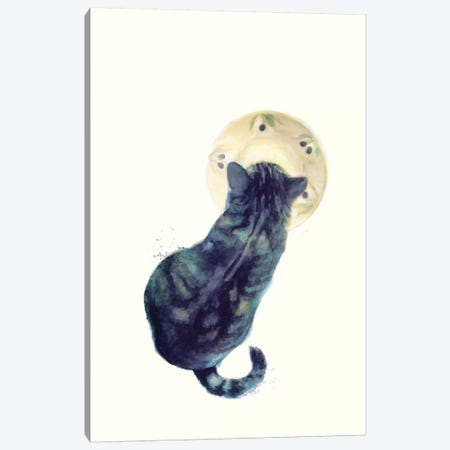Kitten & Saucer Canvas Print #JMO113} by Jacqueline Maldonado Canvas Artwork