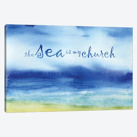 The Sea is My Church Canvas Print #JMO125} by Jacqueline Maldonado Canvas Wall Art