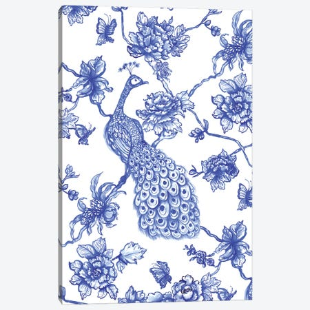 Chinoiserie Peacock Canvas Print #JMO130} by Jacqueline Maldonado Canvas Wall Art