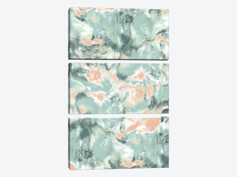 Marble Mist Green Peach by Jacqueline Maldonado 3-piece Canvas Print