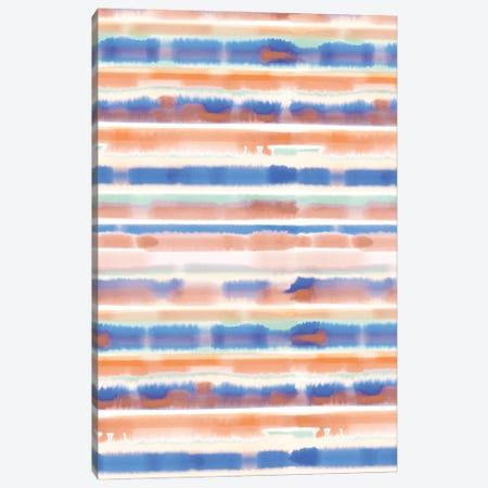 Watercolor Stripe Blue Orange Canvas Print #JMO155} by Jacqueline Maldonado Canvas Print