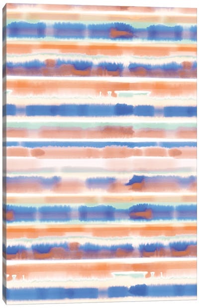 Watercolor Stripe Blue Orange Canvas Art Print