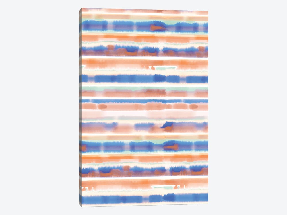 Watercolor Stripe Blue Orange by Jacqueline Maldonado 1-piece Canvas Print