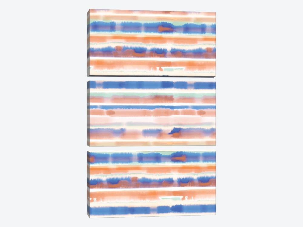 Watercolor Stripe Blue Orange by Jacqueline Maldonado 3-piece Canvas Art Print