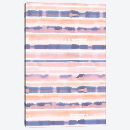 Watercolor Stripes Pale Pink Coral Canvas Print #JMO157} by Jacqueline Maldonado Art Print