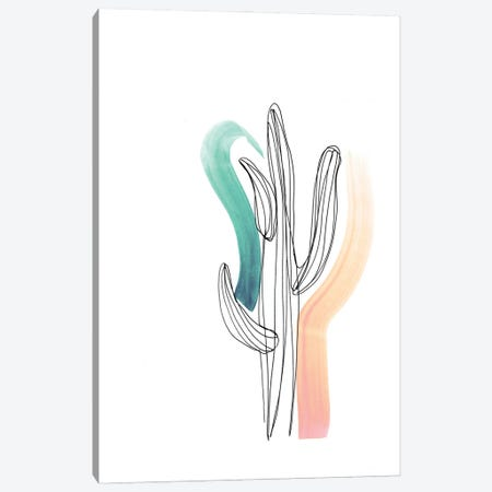 Contour Cactus Green Coral 1 Canvas Print #JMO173} by Jacqueline Maldonado Canvas Art