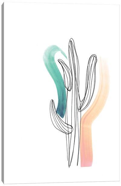 Contour Cactus Green Coral 1 Canvas Art Print