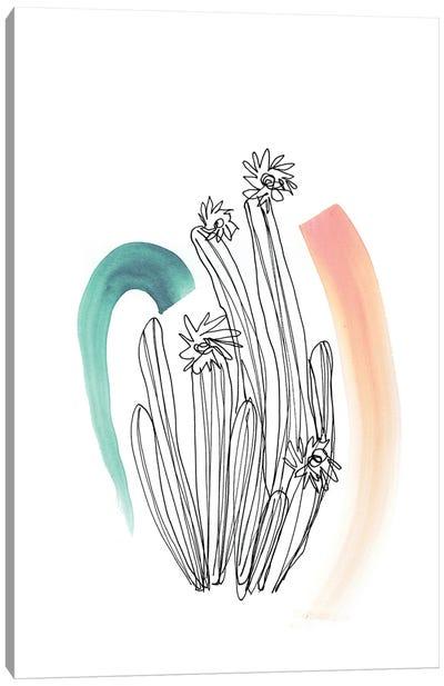 Contour Cactus Green Coral 2 Canvas Art Print