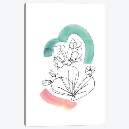Contour Cactus Green Coral 3 Canvas Print #JMO175} by Jacqueline Maldonado Canvas Art Print