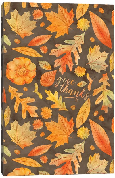 Give Thanks Watercolor Autumn Leaves Brown Canvas Art Print
