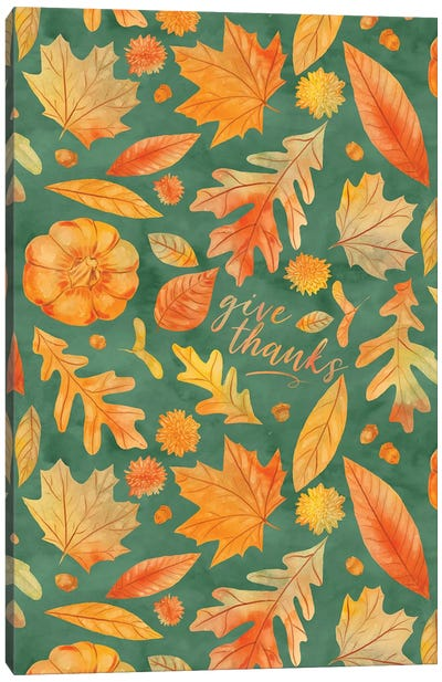 Give Thanks Watercolor Autumn Leaves Teal Canvas Art Print