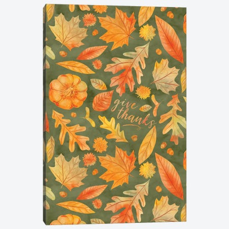 Give Thanks Watercolor Autumn Leaves Green Canvas Print #JMO179} by Jacqueline Maldonado Canvas Art