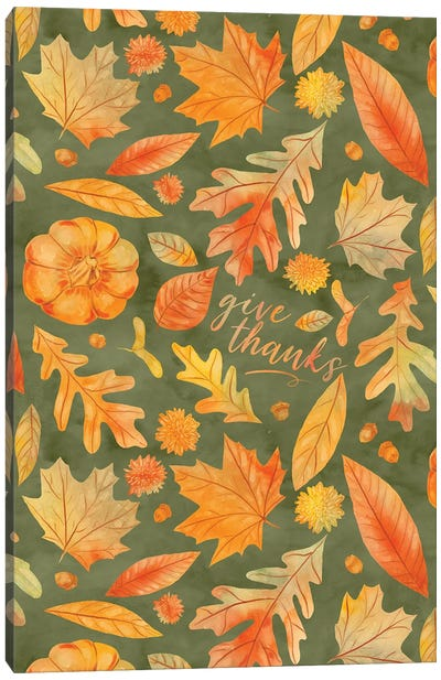 Give Thanks Watercolor Autumn Leaves Green Canvas Art Print