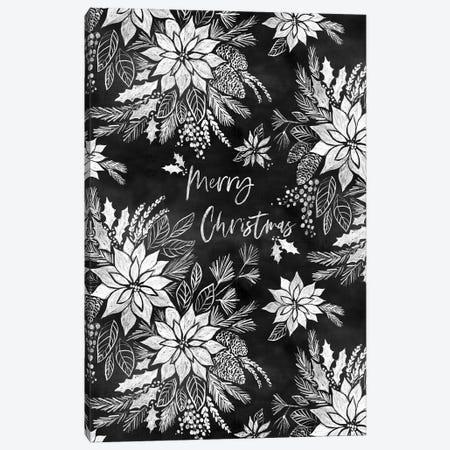 Christmas Chalkboard Pointsettias Canvas Print #JMO180} by Jacqueline Maldonado Canvas Print