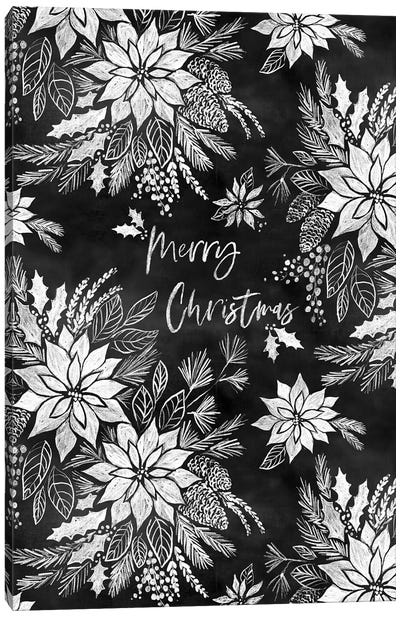Christmas Chalkboard Pointsettias Canvas Art Print