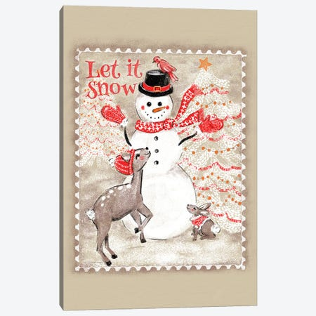 Let It Snow Snowman Postage Stamp Canvas Print #JMO181} by Jacqueline Maldonado Art Print