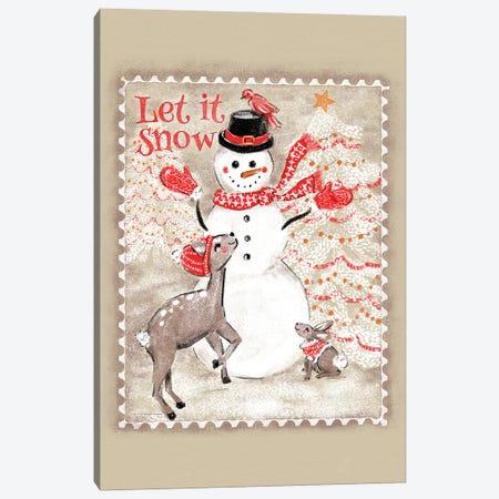 Let It Snow Snowman Postage Stamp Canvas Print #JMO181} by Jacqueline Maldonado Art Print