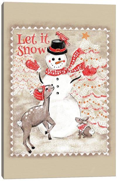 Let It Snow Snowman Postage Stamp Canvas Art Print