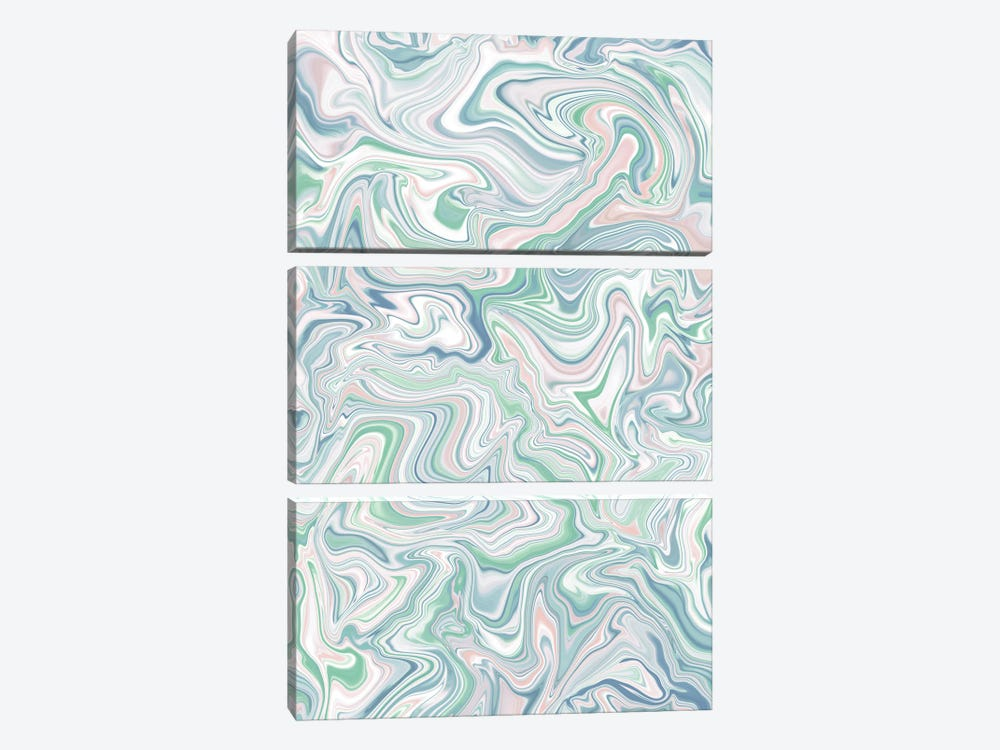 Love Spell Marble Green Blue Pink by Jacqueline Maldonado 3-piece Art Print