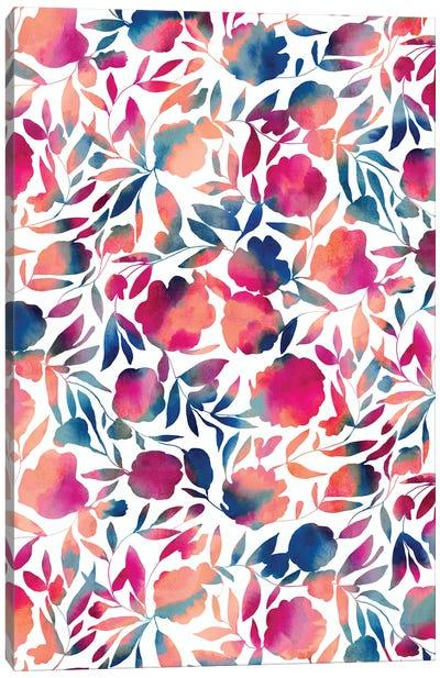Watercolor Floral Papercut Vibrant Multi Canvas Art Print