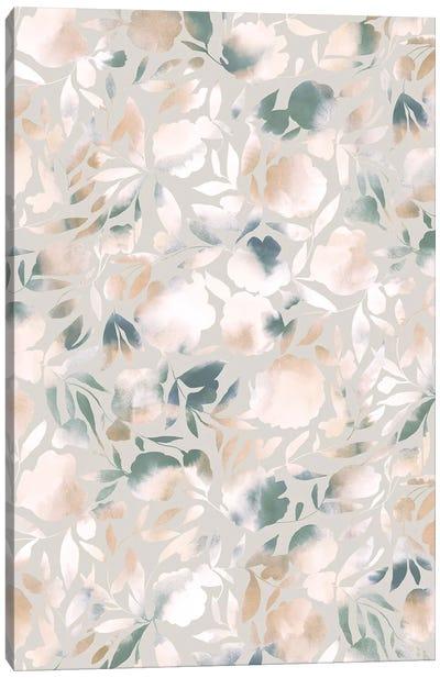 Watercolor Floral Papercut Green Beige Canvas Art Print