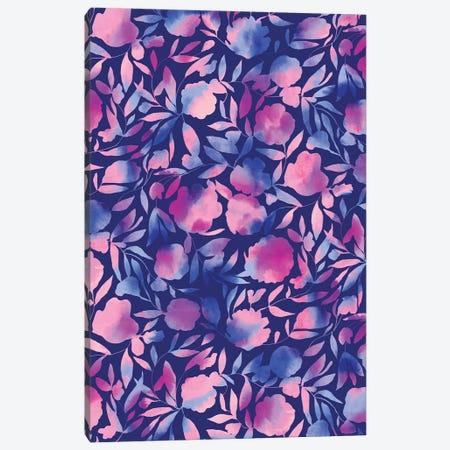 Watercolor Floral Papercut Blue Purple Canvas Print #JMO191} by Jacqueline Maldonado Canvas Art