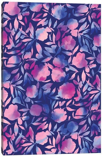 Watercolor Floral Papercut Blue Purple Canvas Art Print