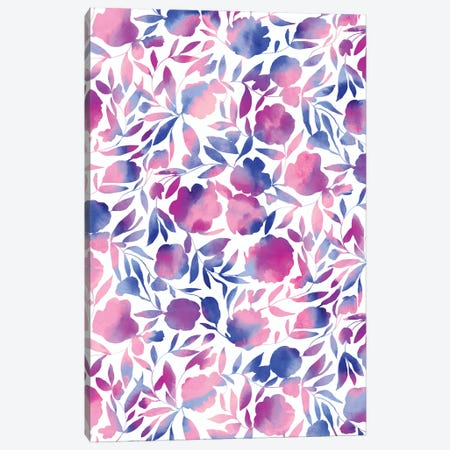 Watercolor Floral Papercut Pink Blue Canvas Print #JMO192} by Jacqueline Maldonado Canvas Artwork