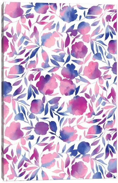 Watercolor Floral Papercut Pink Blue Canvas Art Print