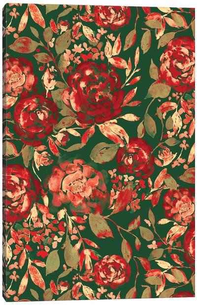 Farmhouse Floral Christmas Canvas Art Print
