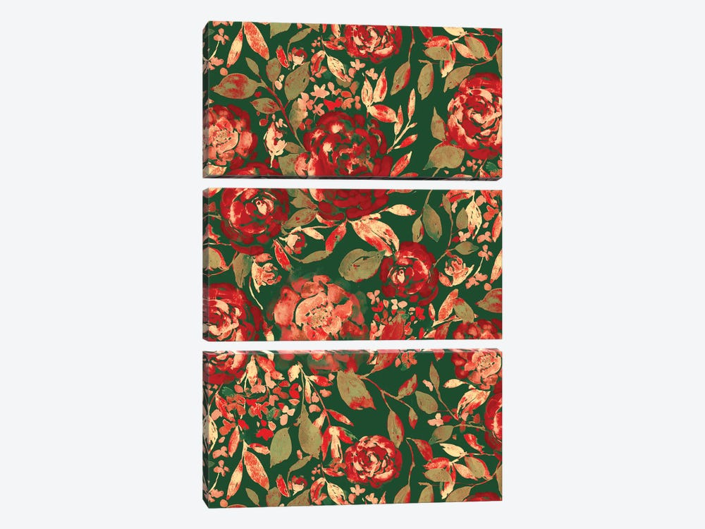 Farmhouse Floral Christmas by Jacqueline Maldonado 3-piece Canvas Art