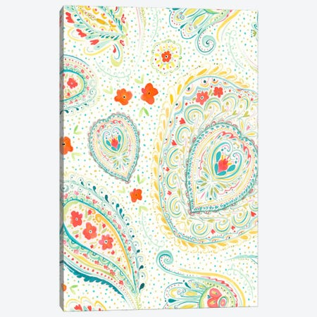 Watercolor Paisley Teal Canvas Print #JMO33} by Jacqueline Maldonado Art Print
